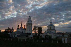 Все храмы посёлка Лух на рассвете
