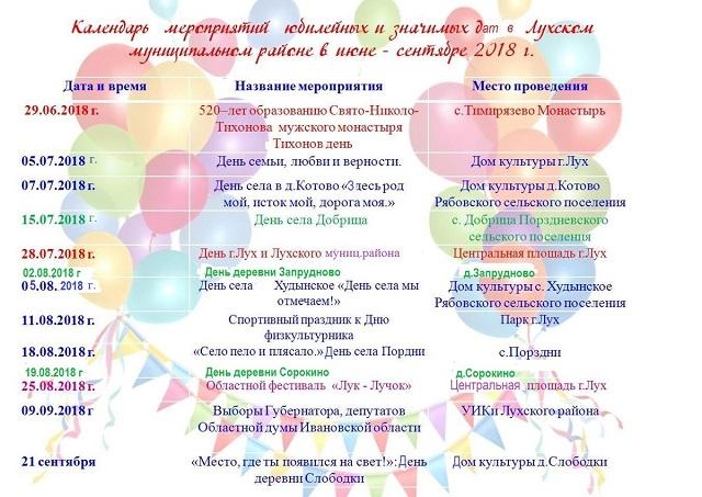 Юбилейные и значимые даты в культурной жизни Лухского муниципального района.